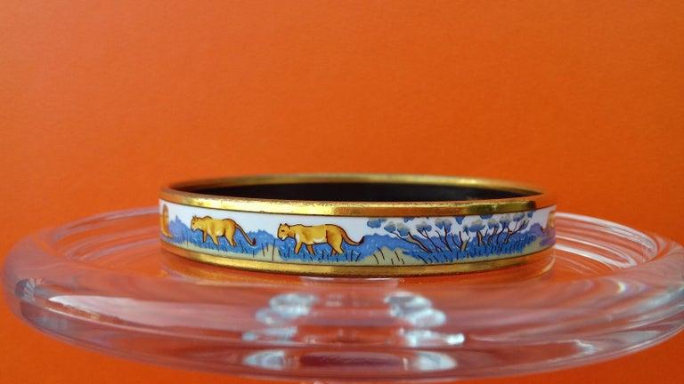 Women's Hermès Enamel Bracelet Lions and Lionesses Narrow Gold Hdw Size PM 65 For Sale
