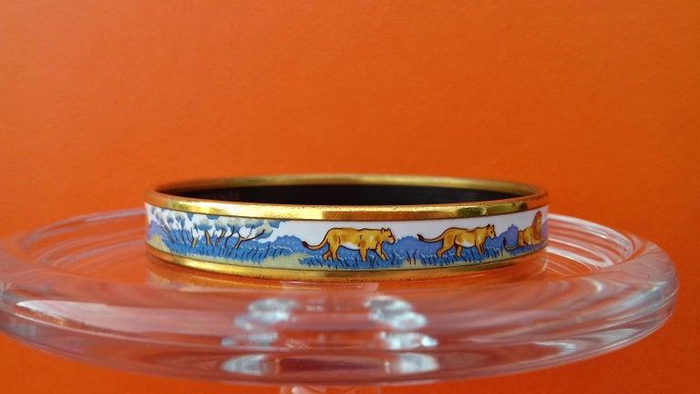 Hermès Enamel Bracelet Lions and Lionesses Narrow Gold Hdw Size PM 65 For Sale 1