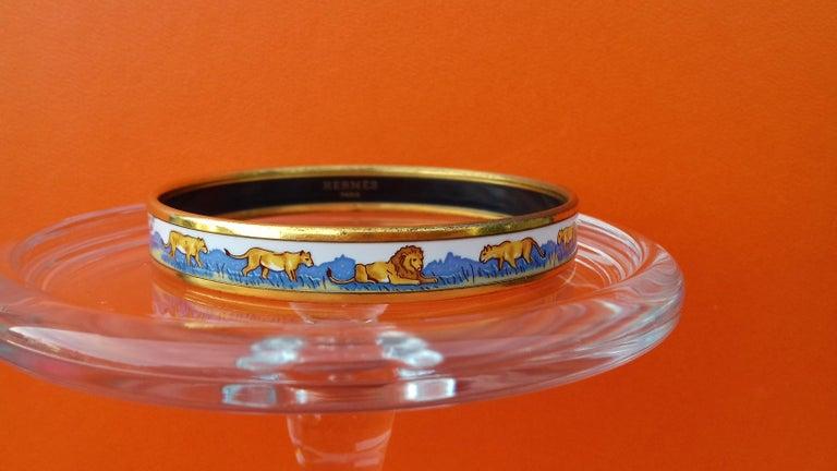 Hermès Enamel Bracelet Lions and Lionesses Narrow Gold Hdw Size PM 65 For Sale 2