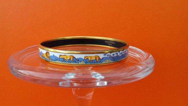 Hermès Enamel Bracelet Lions and Lionesses Narrow Gold Hdw Size PM 65 For Sale 3