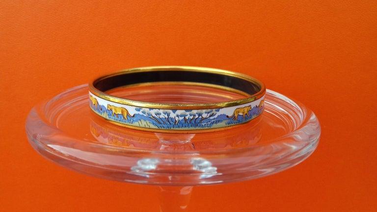 Hermès Enamel Bracelet Lions and Lionesses Narrow Gold Hdw Size PM 65 For Sale 4