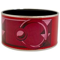 HERMES Enamel Bracelet Red Dog Collar