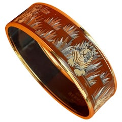 Hermès Enamel Bracelet Tigers in the Herbs Metz NEW Ghw Size GM 70 RARE