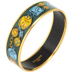 Hermes Enamel Bracelet PM Equestrian Horse Pattern Green Gold Turquois
