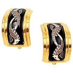 Hermès Enamel Earrings