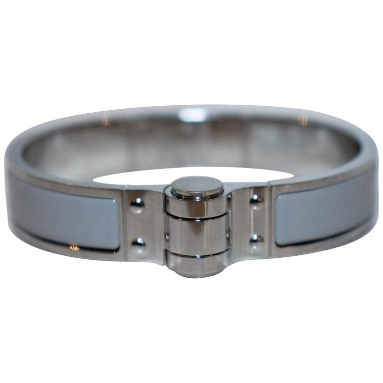 Hermes Enamel Hinged Bracelet For Sale
