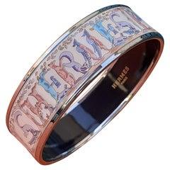 Hermès Enamel Printed Bracelet Animal Alphabet Palladium Hdw PM 65