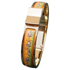 Hermès Enamel Printed Bracelet Clic Clac Version Elephants Grazing Ghw Narrow PM