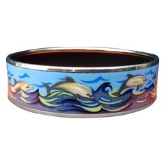 Hermès Enamel Printed Bracelet Dolphins in See Palladium Hdw Large Size 65