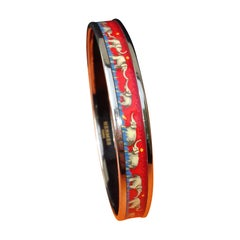 Hermès Enamel Printed Bracelet Elephants Grazing Red Phw Narrow Size 70