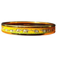 Hermès Enamel Printed Bracelet Elephants Grazing Yellow Ghw Narrow Size 65