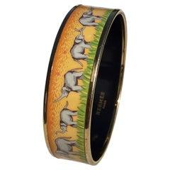 Hermès Enamel Printed Bracelet Elephants Grazing Yellow Ghw Size 65