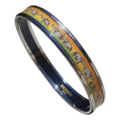 Hermès Enamel Printed Bracelet Elephants Grazing Yellow Phw Narrow Size 65