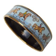 Hermès Enamel Printed Bracelet Equestrian Horses Rodeo Cowgirls Ghw Size 65