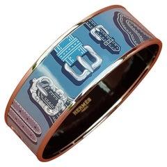 Hermès Enamel Printed Bracelet Harnais des Présidents Blue Phw Size GM 70