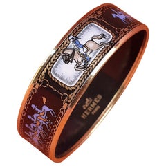 Hermès Enamel Printed Bracelet Horses Riders Pattern Gold Hdw Size GM 70