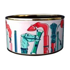 Hermès Enamel Printed Bracelet Les Cannes Baroque Rose Ghw Extra Large Size 65