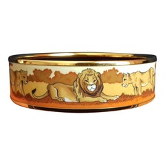 Hermès Enamel Printed Bracelet Lions And Lionesses In Savannah Gold Hdw Size 65