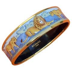 Hermès Enamel Printed Bracelet Lions And Lionesses In Savannah Gold Hdw Size 70