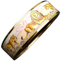 Hermès Enamel Printed Bracelet Lions And Lionesses In Savannah Gold Hdw Size 70