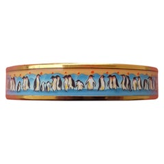 Hermès Enamel Printed Bracelet Penguins Blue Gold Plated Hdw Narrow Size 65