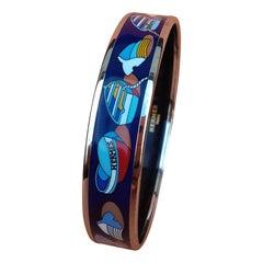 Hermès Enamel Printed Bracelet Thalassa See Boats Pattern Blue Phw Size 70