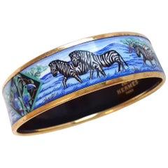 Hermès Enamel Printed Bracelet Zebras Toucans Tropiques Blue Ghw Size 70 RARE