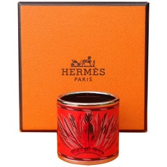 Hermès Enamel Printed Palladium Hdw Scarf Ring BRAZIL Coral