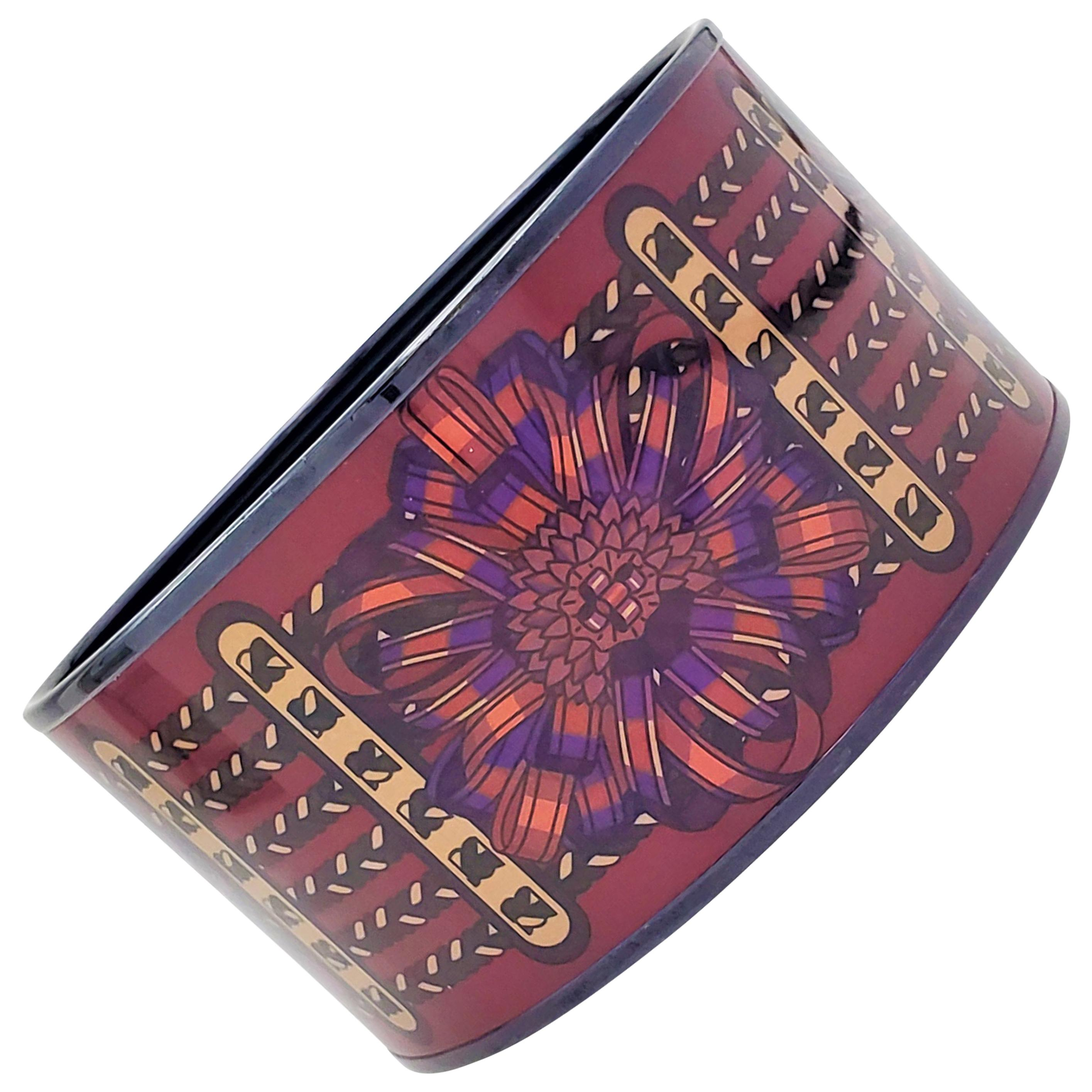 Hermès Enamel Wide Bangle Bracelet
