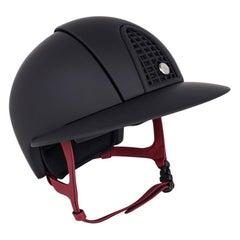 Hermes Eole Riding Helmet Black / Rouge H Strap 57 / 7/8 New w/Box
