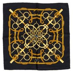 "Hermès ""Eperon d'or"" Silk Black Pochette Scarf"