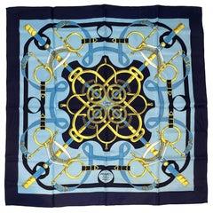 """Hermès """"Eperon d'Or"""" Twill Silk Scarf by Henri d'Origny"""