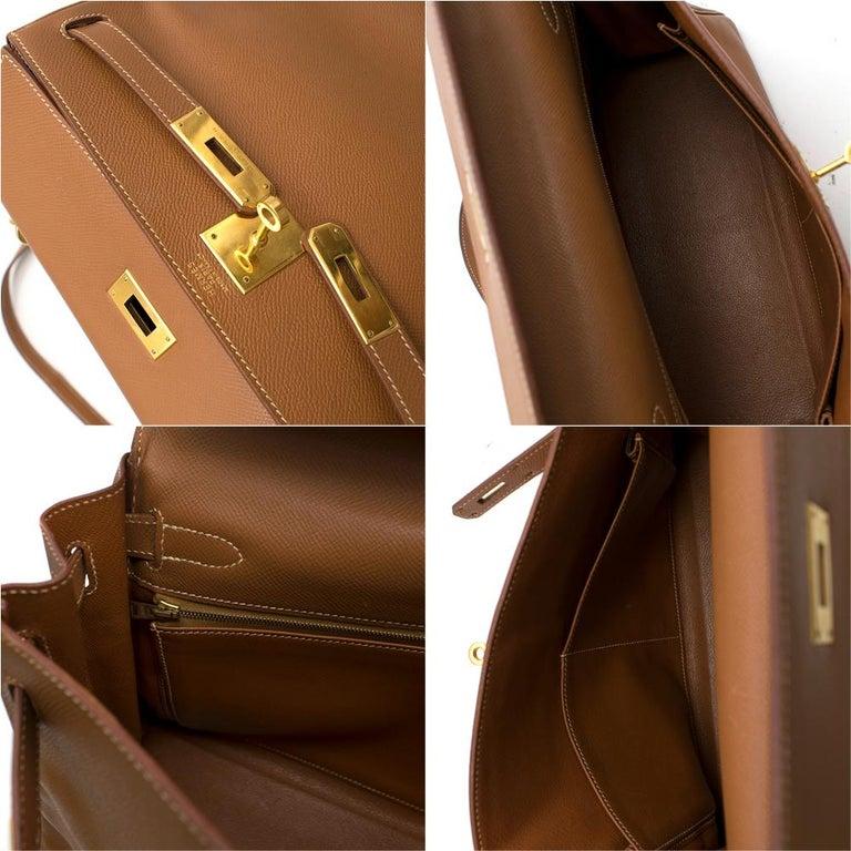 Hermes Epsom Leather Gold Kelly Retourne 32 GHW - D 2000 For Sale 1
