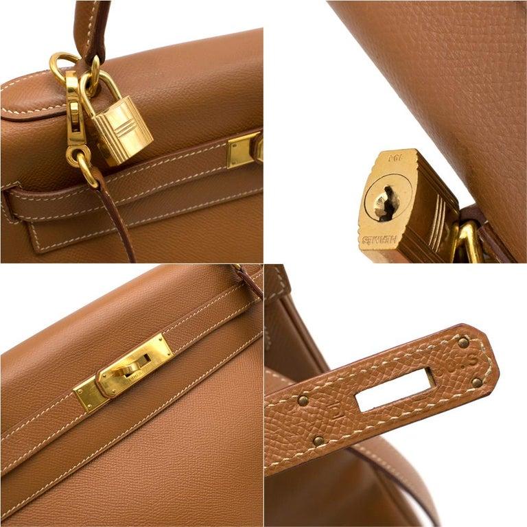 Hermes Epsom Leather Gold Kelly Retourne 32 GHW - D 2000 For Sale 2