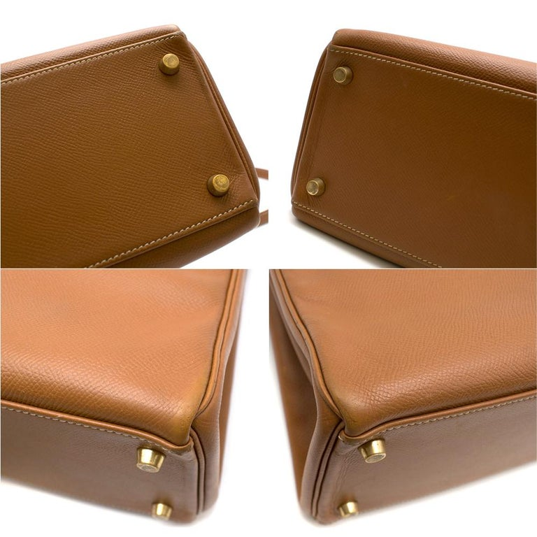 Hermes Epsom Leather Gold Kelly Retourne 32 GHW - D 2000 For Sale 4