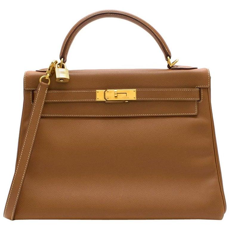 Hermes Epsom Leather Gold Kelly Retourne 32 GHW - D 2000 For Sale