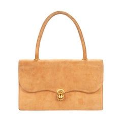 "Hermès ""Escale"" vintage handbag in beige suede with gold hardware"