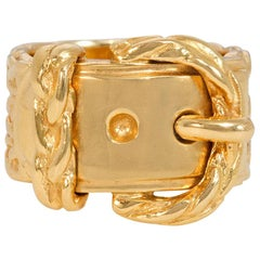 Hermès Estate Gold Buckle Motif Band Ring