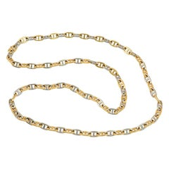 Hermès Estate Two-Color Gold Chaine d'Ancre Link Necklace; May Be Doubled
