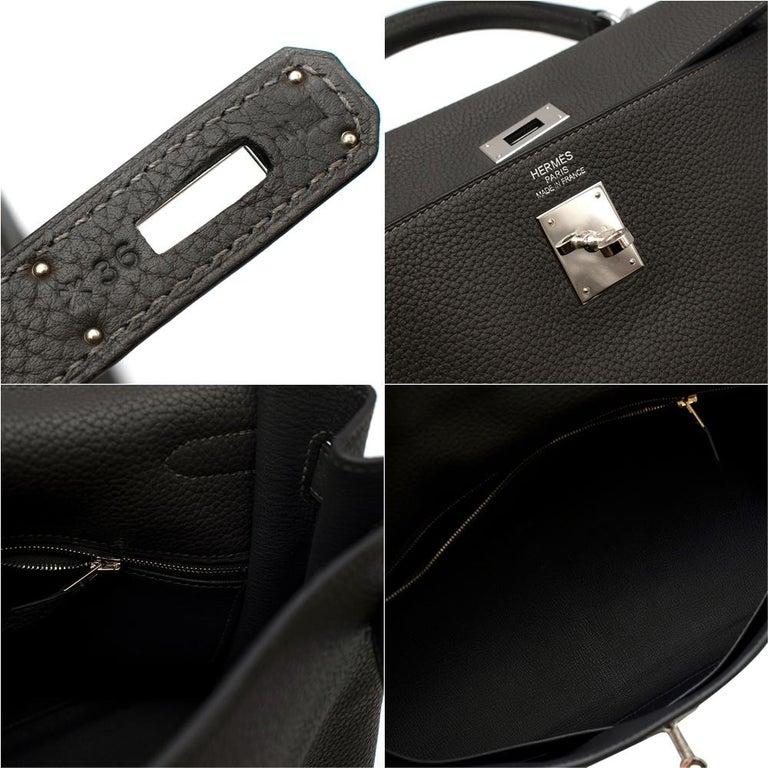 Women's or Men's Hermes Etain Clemence Leather Retourne Kelly 35 PHW