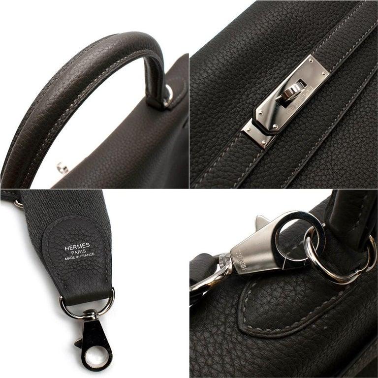 Hermes Etain Clemence Leather Retourne Kelly 32 PHW For Sale 1
