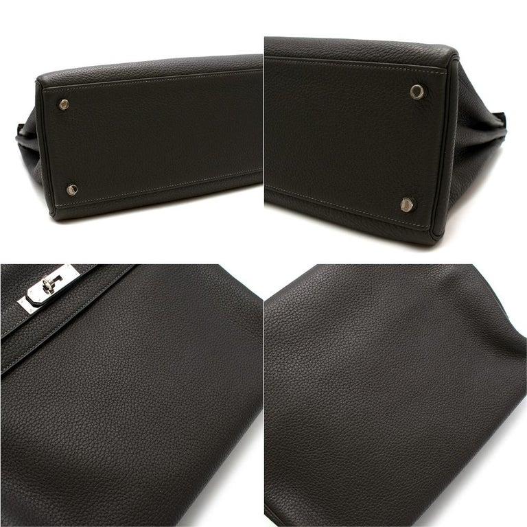 Hermes Etain Clemence Leather Retourne Kelly 32 PHW For Sale 2