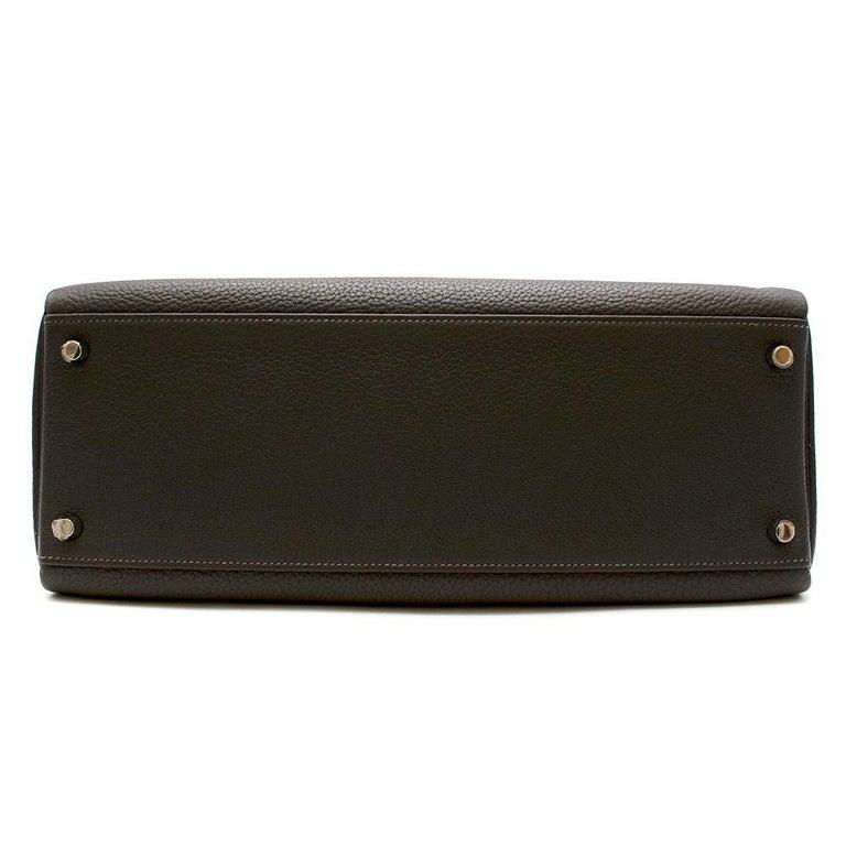 Hermes Etain Clemence Leather Retourne Kelly 32 PHW For Sale 4