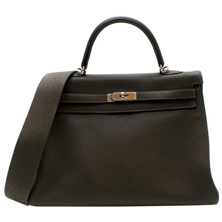 Hermes Etain Clemence Leather Retourne Kelly 32 PHW For Sale