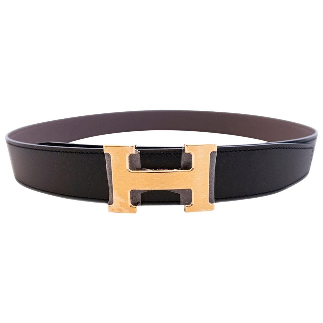 Hermes Etain Grey Black Reversible Constance Gold Belt Kit 32mm 85cm New GIFT!