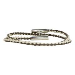 Hermes Etain Grey/Craie Bicolor Leather Tournis Tresse H Wrap Bracelet sz L
