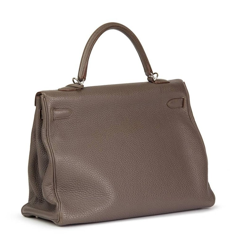 Gray 2013 Hermes Etain Togo Leather Kelly 35cm Retourne  For Sale