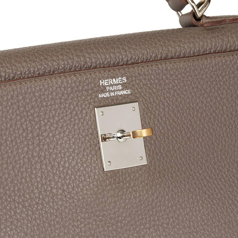 Women's 2013 Hermes Etain Togo Leather Kelly 35cm Retourne  For Sale