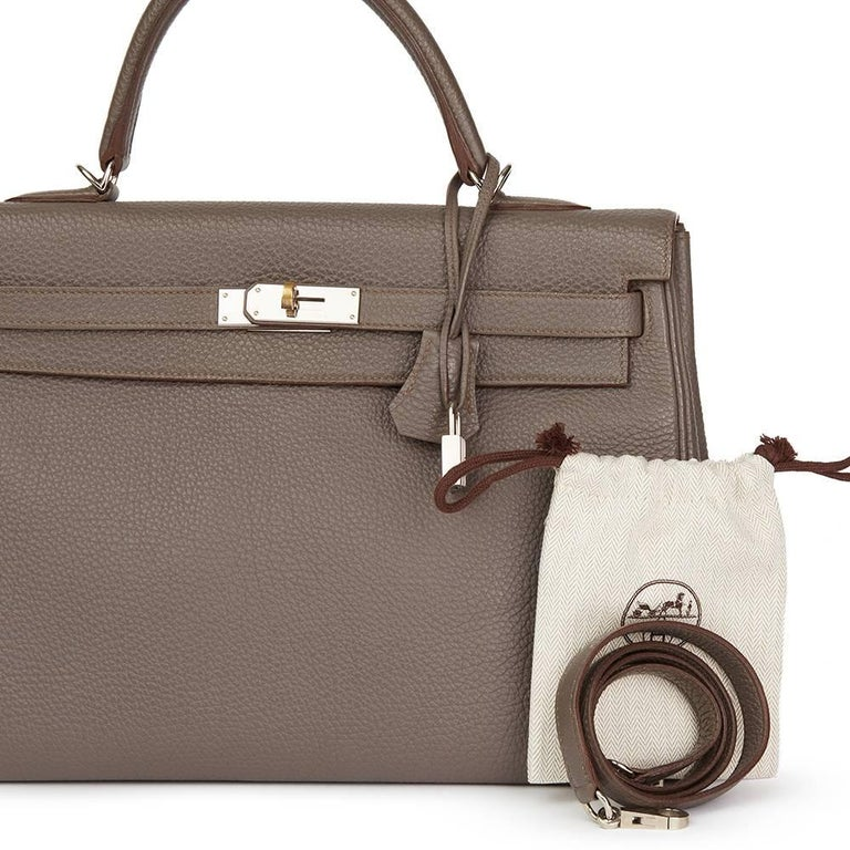 2013 Hermes Etain Togo Leather Kelly 35cm Retourne  For Sale 3