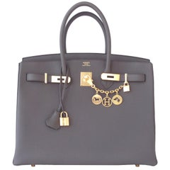 Hermes Etain Togo Tin Grey 35cm Birkin Gold Hardware GHW NEW